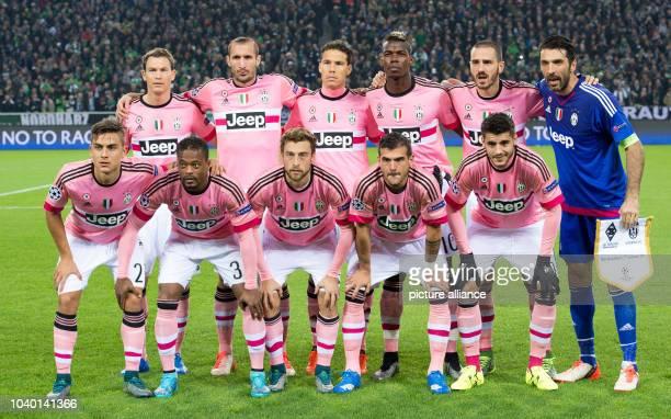 Turin's players Stephan Lichtensteiner Girogio Chiellini Hernanes Paul Pogba Leonardo Bonucci and Gianluigi Buffon Paulo Dybala Patrice Evra Claudio...
