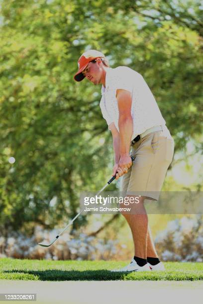 Turk Pettit of the Clemson Tigers chips onto the green during the Division I Mens Golf Championship held at the Grayhawk Golf Club on May 31, 2021 in...