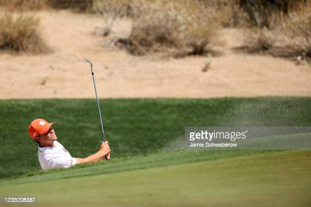 Turk Pettit of the Clemson Tigers chips out of the sand during the Division I Mens Golf Championship held at the Grayhawk Golf Club on May 31, 2021...