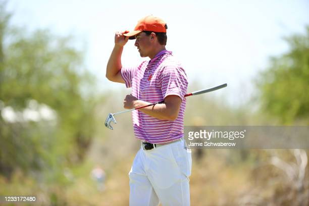Turk Pettit of the Clemson Tigers putts during the Division I Mens Golf Championship held at the Grayhawk Golf Club on May 29, 2021 in Scottsdale,...