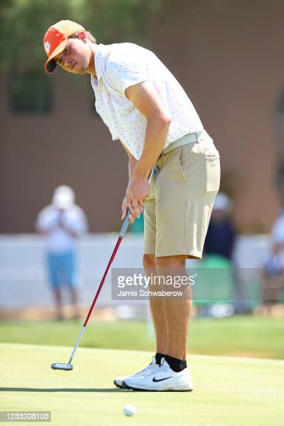 Turk Pettit of the Clemson Tigers putts during the Division I Mens Golf Championship held at the Grayhawk Golf Club on May 31, 2021 in Scottsdale,...
