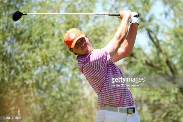 Turk Pettit of the Clemson Tigers tees off during the Division I Mens Golf Championship held at the Grayhawk Golf Club on May 29, 2021 in Scottsdale,...