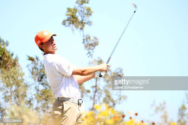 Turk Pettit of the Clemson Tigers tees off during the Division I Mens Golf Championship held at the Grayhawk Golf Club on May 31, 2021 in Scottsdale,...