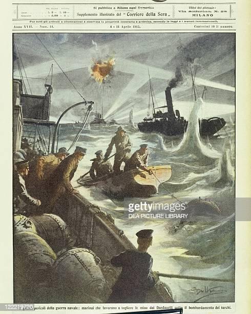 Turkey 20th century World War I Battle of the Dardanelles March 18 1915 Allied forces seamen attempting to defuse mines under Turkish artillery fire