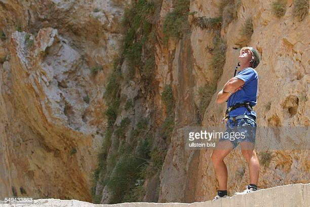 A man during a climbing tour in the mountains