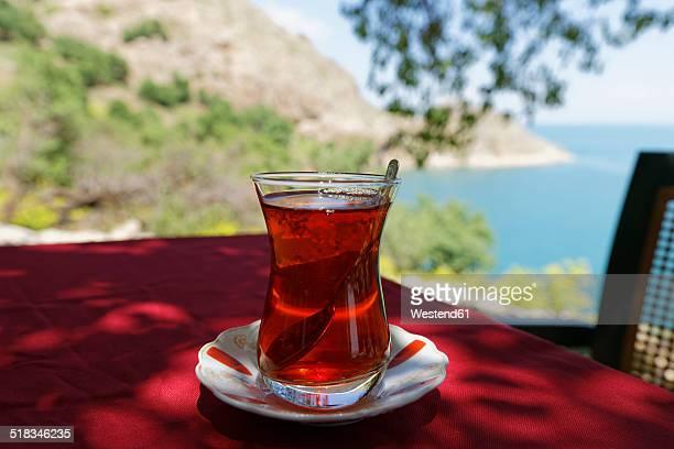 Turkey, Anatolia, Akdamar Island, Cay, Glass of Turkish tea