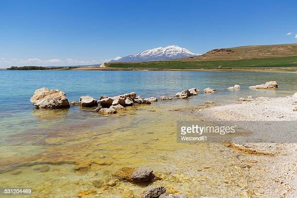 turkey, anatolia, eastern anatolia region, van province, near ercis, northern bank of lake van, view to volcano suephan dagi - van turkey stock pictures, royalty-free photos & images