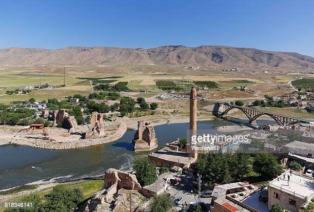 Turkey, Anatolia, Hasankeyf, minaret of El Rizk Mosque at River Tigris