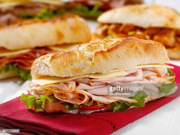 turkey and cheese sandwich on a ciabatta bread - sanduíche - fotografias e filmes do acervo
