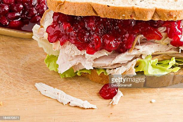 turkey and cranberry sandwich - cranberry sauce stock photos and pictures