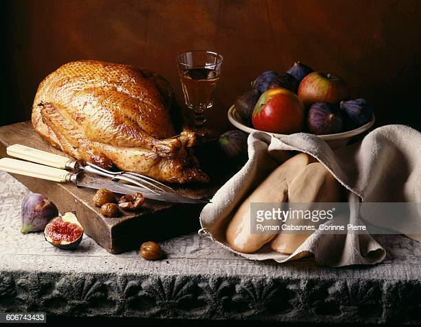 turkey and uncooked foie gras - foie gras stock photos and pictures