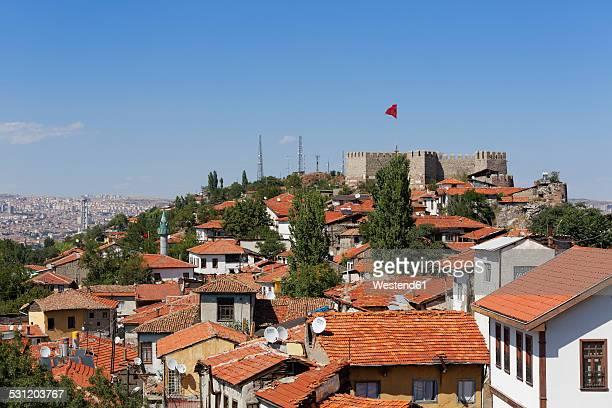 turkey, ankara, view of the city with ankara citadel - ankara turkey stock pictures, royalty-free photos & images