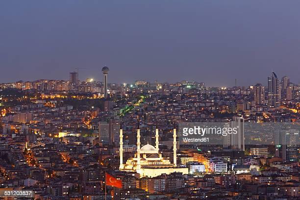 Turkey, Ankara, View of the city with Kocatepe mosque