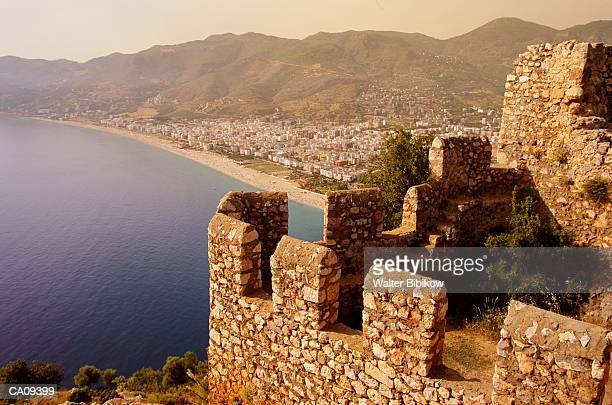 turkey, antalya, alanya, citadel above cleopatra beach - antalya province stock pictures, royalty-free photos & images