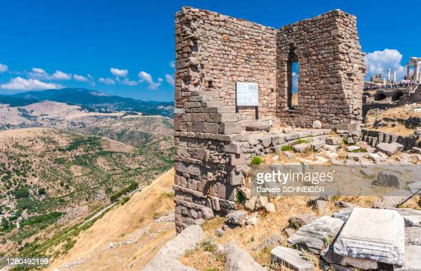 turkey, archeological site of the former city of minor asia, pergamon (bergama) (3rd century bc and 2nd century ac) (unesco world heritage), ruins of the sanctuary of athena - bergama stock pictures, royalty-free photos & images
