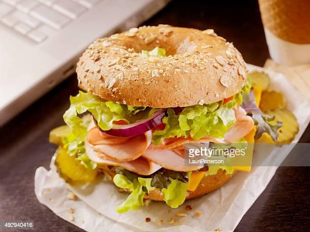 Turkey Bagel Sandwich at your Desk