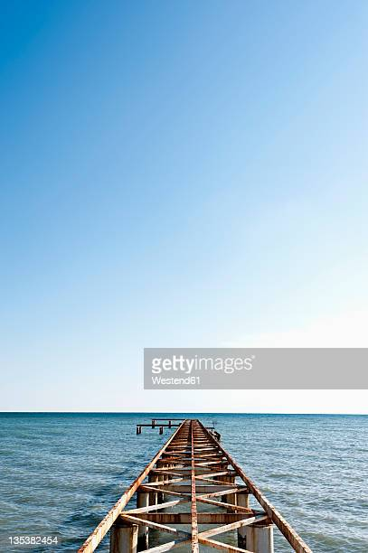 turkey, belek, view of rusty boat landing stage near sea - belek stock pictures, royalty-free photos & images