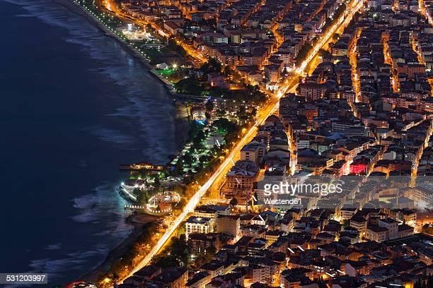 Turkey, Black Sea region, Black Sea coast, Black Sea, Ordu, city center at night