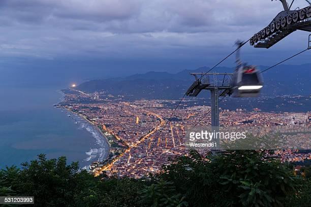 Turkey, Black Sea region, Black Sea coast, Black Sea, View from Boztepe to Ordu, cable car in the evening