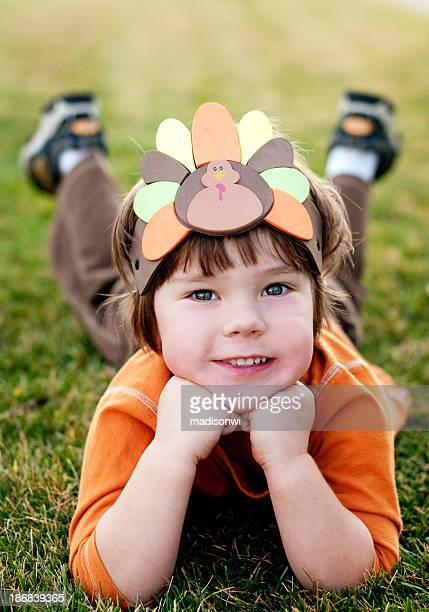 turkey boy - kids thanksgiving stock pictures, royalty-free photos & images