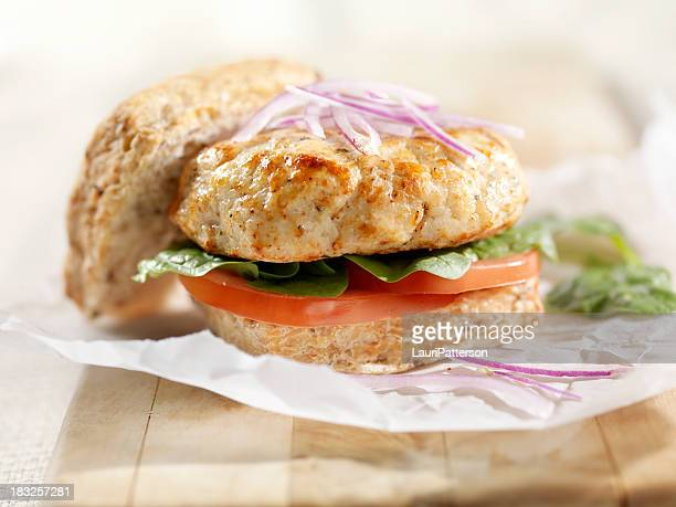 Turkey Burger with Lettuce and Tomato