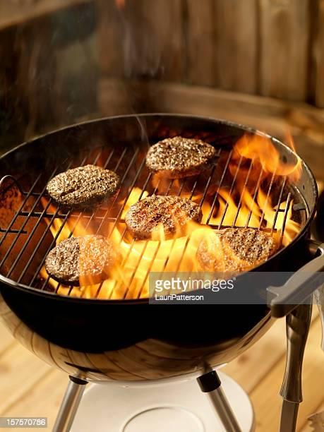 Turkey Burgers on a Charcoal BBQ