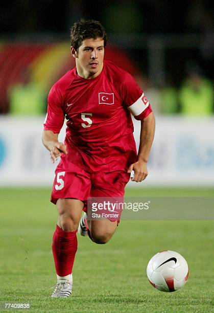 Turkey captain Emre Belozoglu makes a run with the ball during the Euro 2008 Qualifying match between Turkey and Greece at Ali Sami Yen Stadium on...