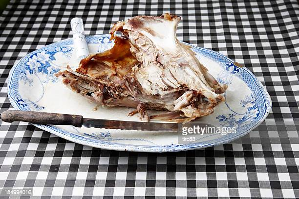 Turkey carcass on a large plate