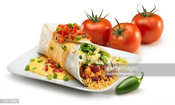 Chile à la dinde Burrito sur blanc