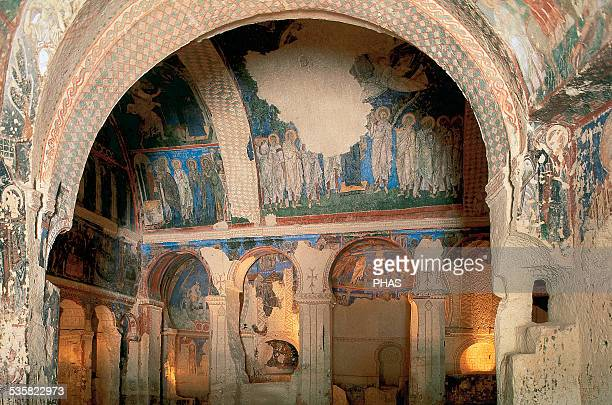 Turkey Church of the Buckle Interior decorated with frescoes 10th11th centuries Goreme Valley Cappadocia