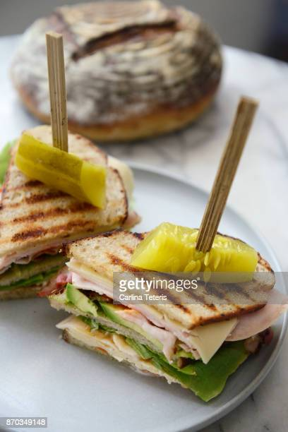 turkey club sandwich on homemade sourdough rye bread - club sandwich stock pictures, royalty-free photos & images