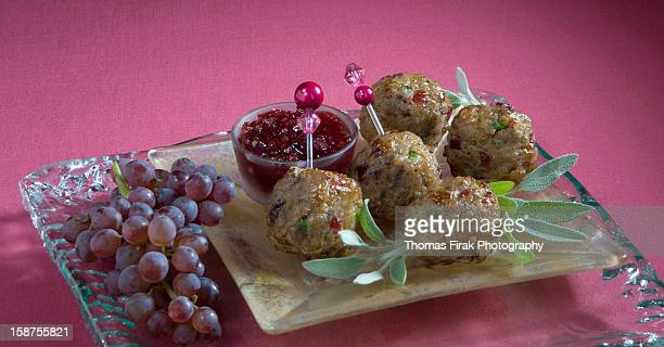 turkey cranberry meatballs -  firak stock pictures, royalty-free photos & images
