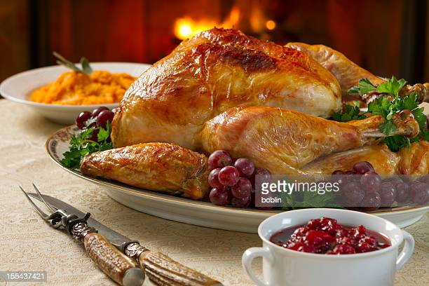 turkey dinner - cranberry sauce stock photos and pictures