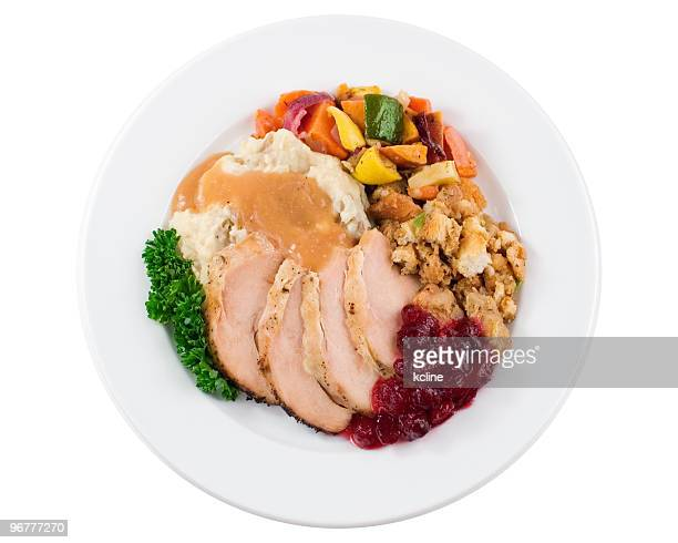 turkey dinner plate - turkey meat stock pictures, royalty-free photos & images