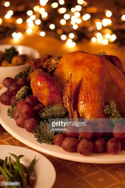 Turkey dinner served with various appetizers