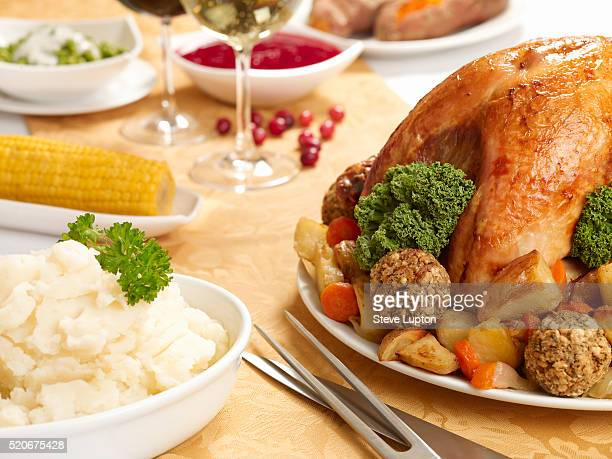 Turkey Dinner With Mashed Potatoes and Corn