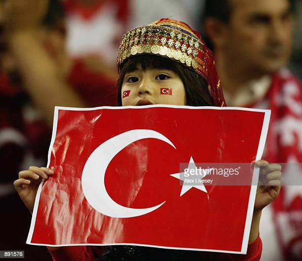 Turkey fan during the FIFA World Cup Finals 2002 SemiFinal match between Brazil and Turkey played at the Saitama Stadium in SaitamaKen Japan on June...