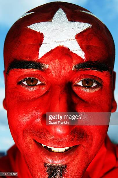 Turkey fan shows his colours ahead of the UEFA EURO 2008 Semi Final match between Germany and Turkey at St. Jakob-Park on June 25, 2008 in Basel,...