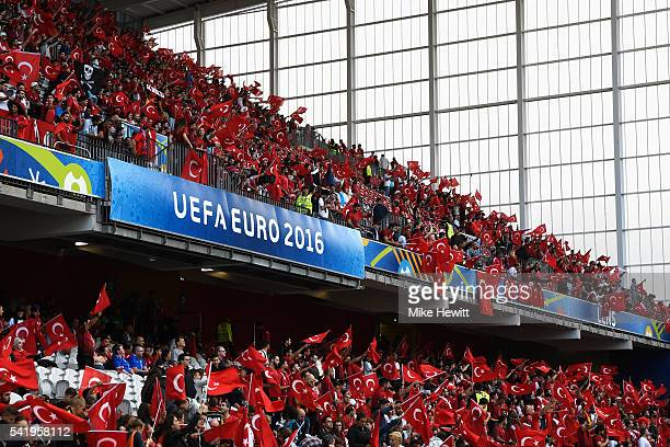 Turkey fans during the UEFA EURO 2016 Group D match between Czech Republic and Turkey at Stade BollaertDelelis on June 21 2016 in Lens France
