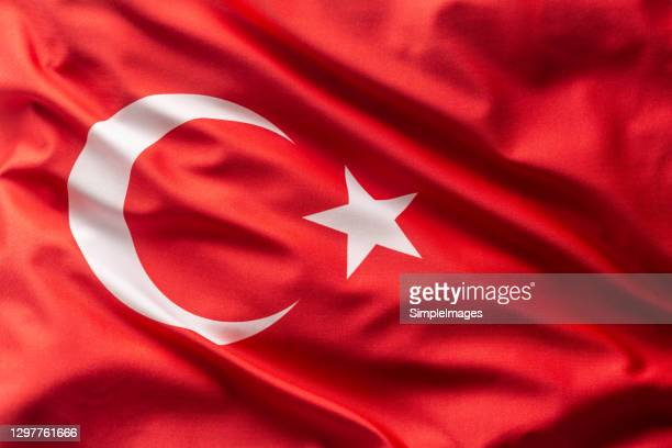 turkey flag blowing in the wind. - silk stock pictures, royalty-free photos & images