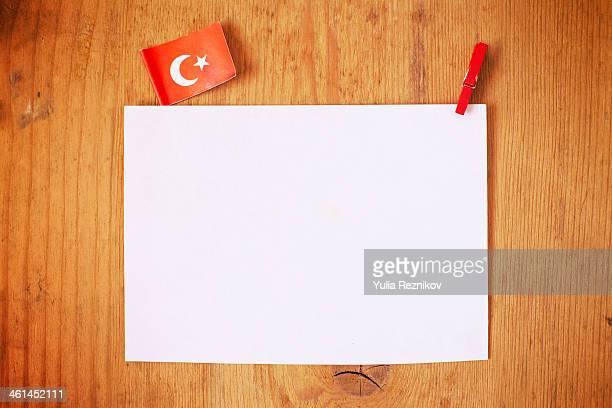 Turkey flag with white letterhead