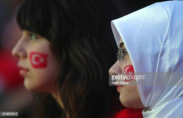Turkey football fans react to play while watching the Turkey vs Croatia Euro 2008 quarter final match at a public viewing area on June 20 2008 in...