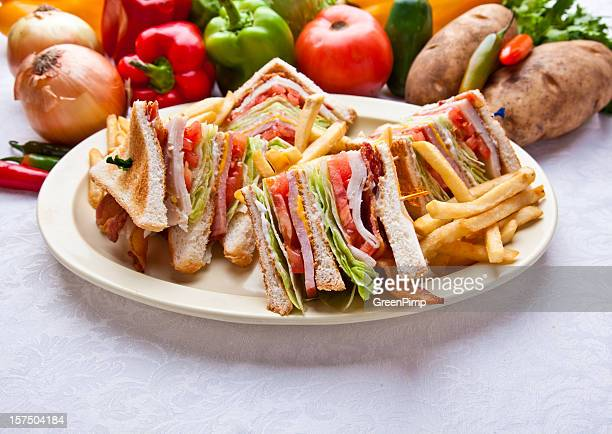 turkey ham club sandwich - club sandwich stock pictures, royalty-free photos & images