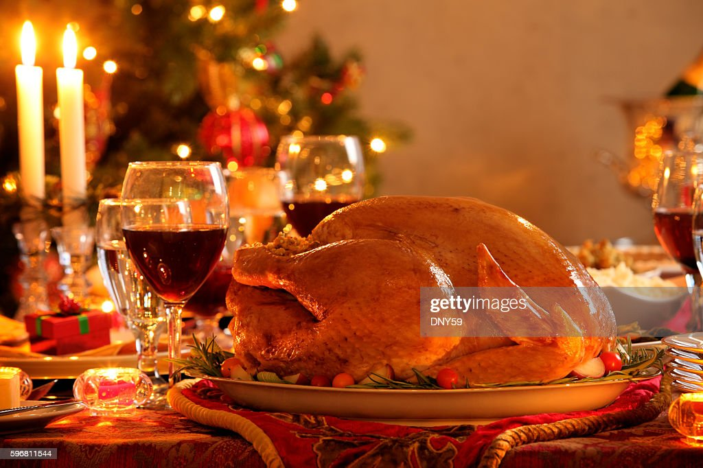 Turkey In A Christmas Dinner Setting : Stock Photo