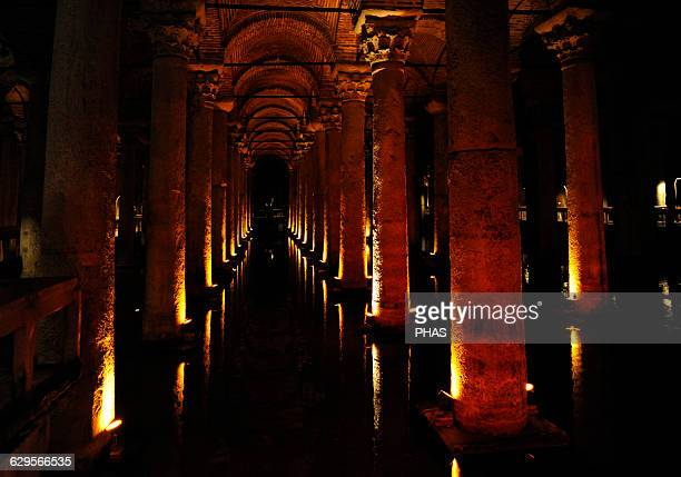 Turkey. Istanbul. Basilica Cistern. 6th century. Erected during the reign of Justinian I. Interior.