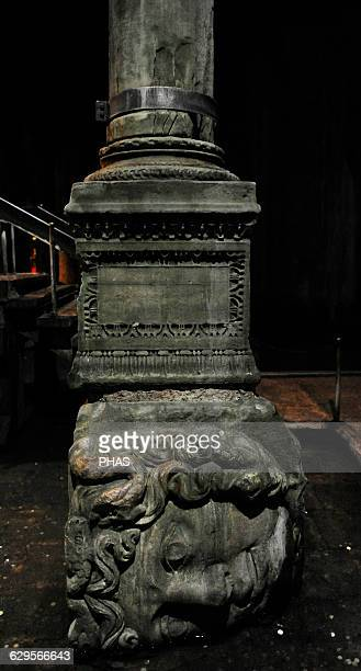 Turkey Istanbul Basilica Cistern 6th century Erected during the reign of Justinian I Medusa column base Detail