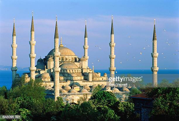 turkey, istanbul, blue mosque and bosphorous, elevated view - blue mosque stock pictures, royalty-free photos & images