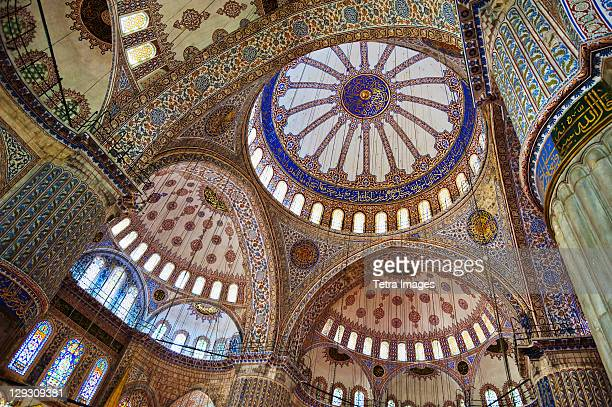 turkey, istanbul, blue mosque interior - blue mosque stock pictures, royalty-free photos & images