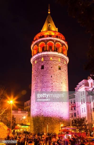 Turkey, Istanbul, Galata tower at night