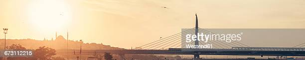 Turkey, Istanbul, Golden Horn, Bosphorus Bridge at sunset